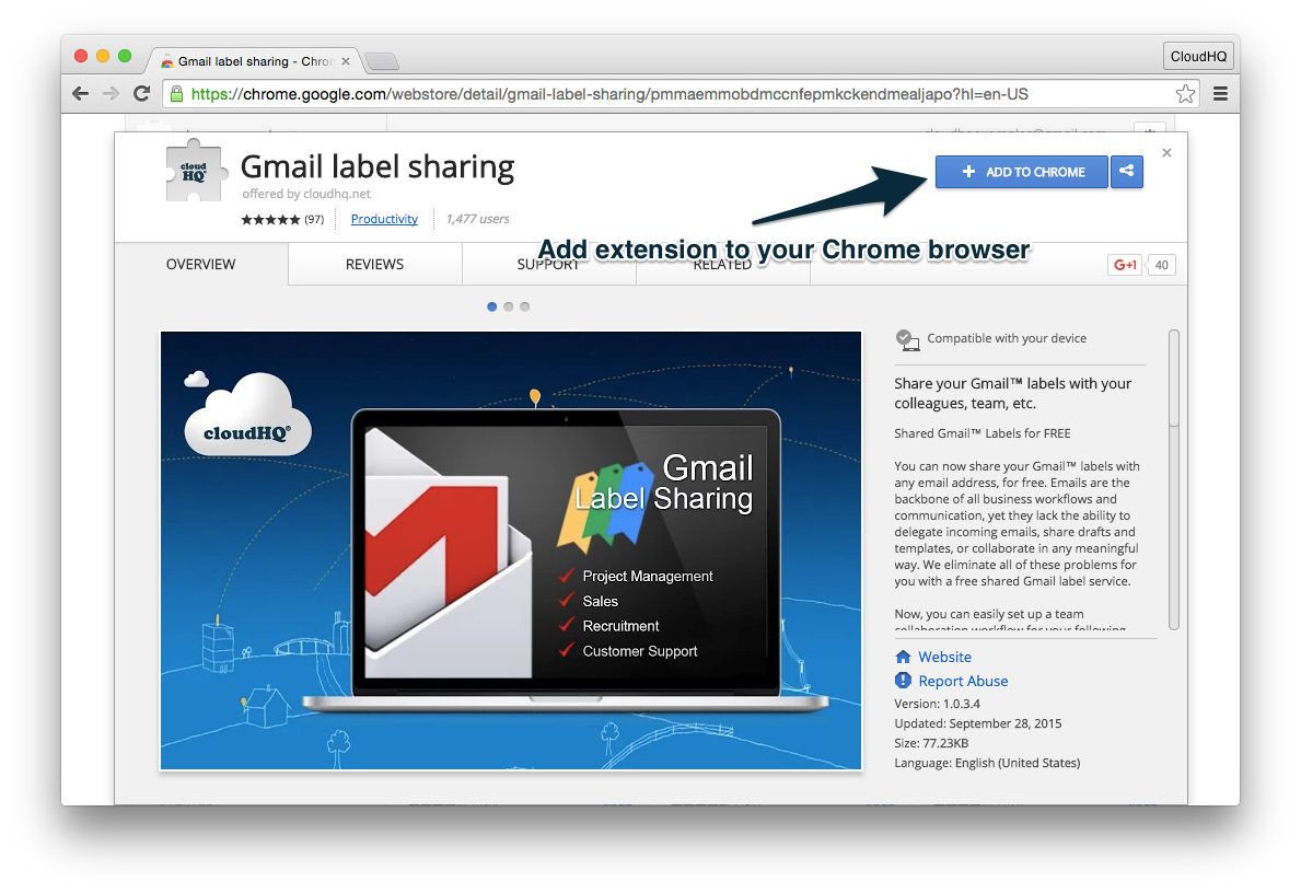 Step 2: Install the Gmail Label Sharing Chrome Extension