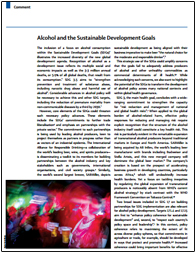 The inclusion of a focus on alcohol consumption within the Sustainable Development Goals (SDGs)