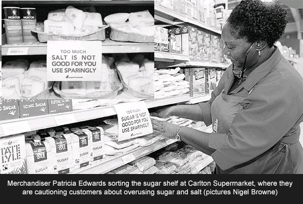 Cautioning customers about overusing sugar and salt