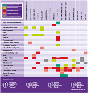 A summary of strong evidence from analysis of worldwide research on diet, nutrition, physical activity & preventing cancer