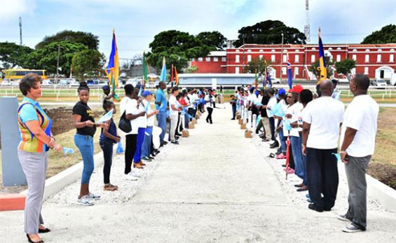 Human chain in solidarity of World Health Day in Barbados
