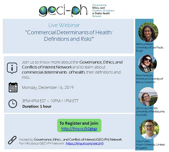 Webinar: Commercial Determinants of Health: Definitions and Risks