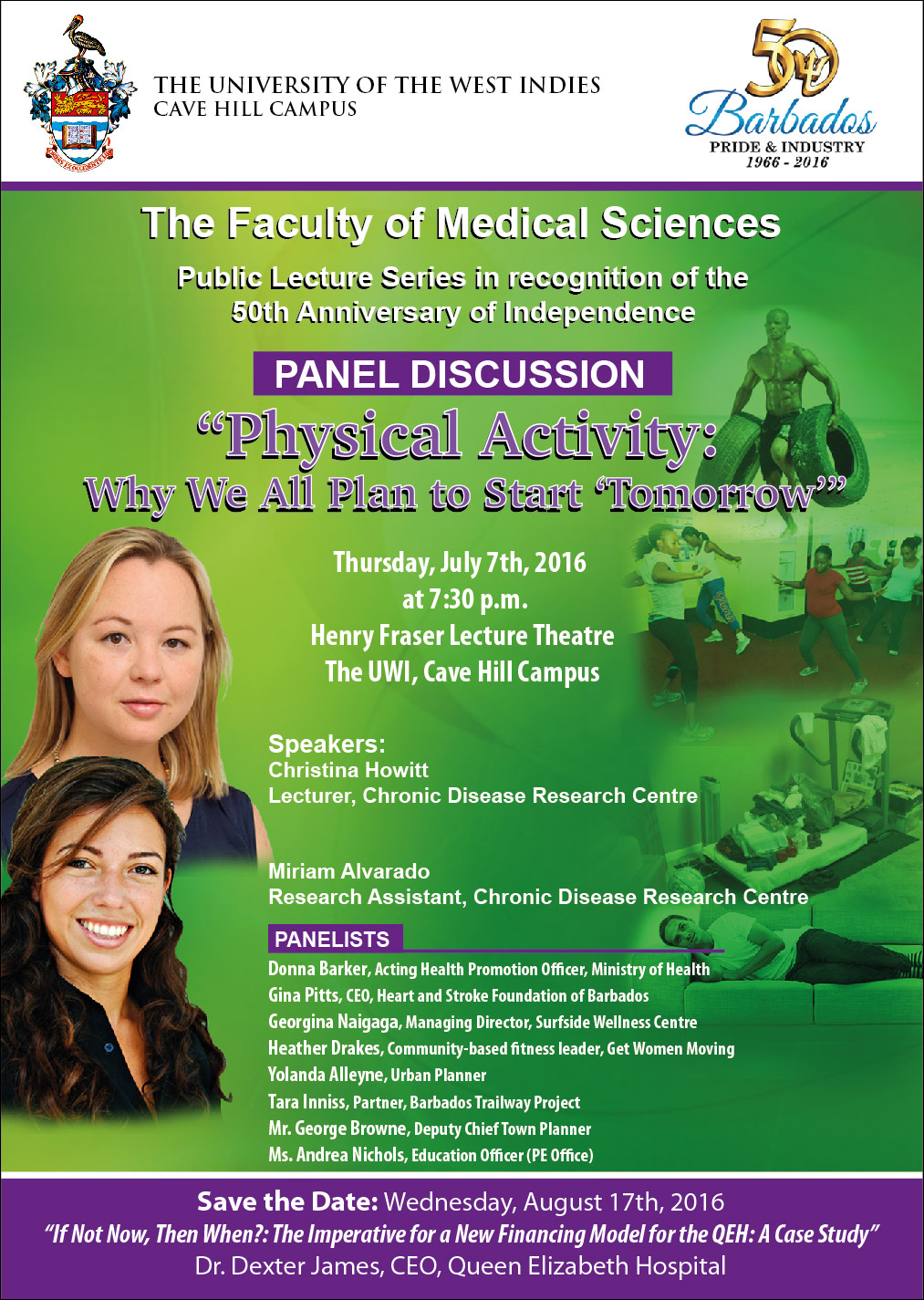 """Public lecture and discussion entitled Physical Activity: Why We All Plan to Start """"Tomorrow,"""""""