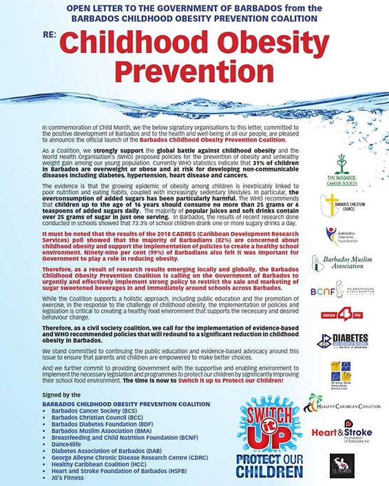Open Letter to the Government of Barbados from the Barbados Childhood Obesity Prevention Coalition
