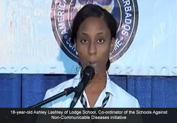 Co-ordinator of the Schools Against Non-Communicable Diseases initiative, Ashley Lashley, of the Lodge School