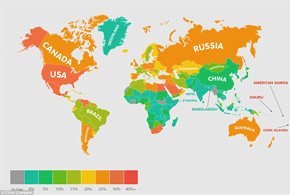 How fat is YOUR country - and which nations have the highest obesity rates?