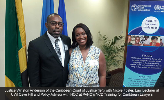 Justice Winston Anderson of the Caribbean Court of Justice (left) with Nicole Foster, Law Lecturer at UWI Cave Hill and Policy Advisor with HCC