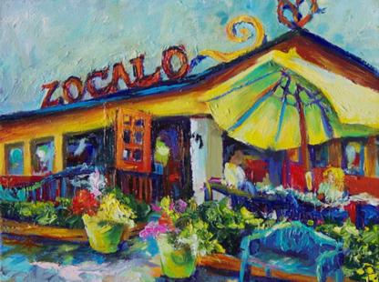 "Zocalo 9""x12""  oil & acrylic on canvas"