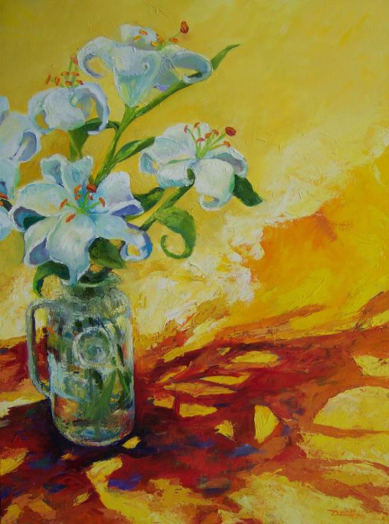 40 x 30 White Hot Lilies