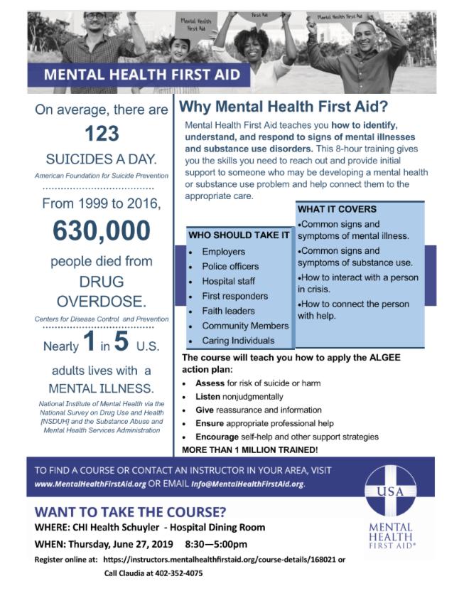 Mental Health First Aid Training @ CHI Health Schuyler - Hospital Dining Room