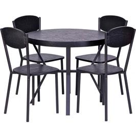 Eettafel met stoelen set van 5 zwart Woood