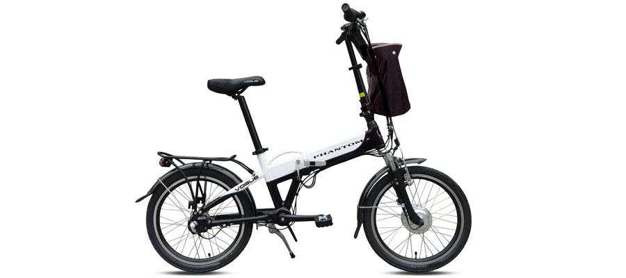 Vouwfiets E-bike Phantom Zwart Wit 3 versnellingen Vogue