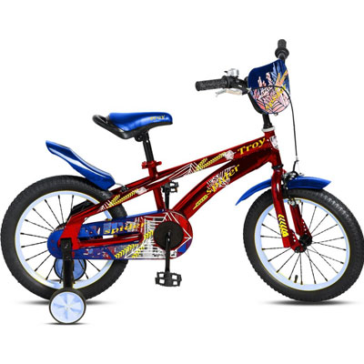 Fiets Spider rood blauw 12 inch Troy