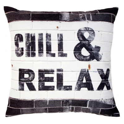 Kussen Chill & Relax zwart wit HK Living