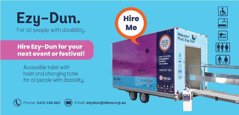 ezy-dun for all people with disability. Accessible toilet with hoist and changing table for all people with disability. Hire for your next event.