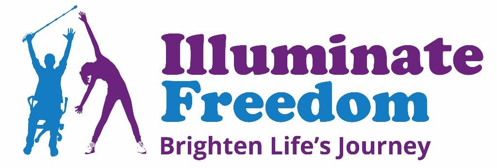 Illuminate Freedom, purple and blue logo - Brighten Life's Journey