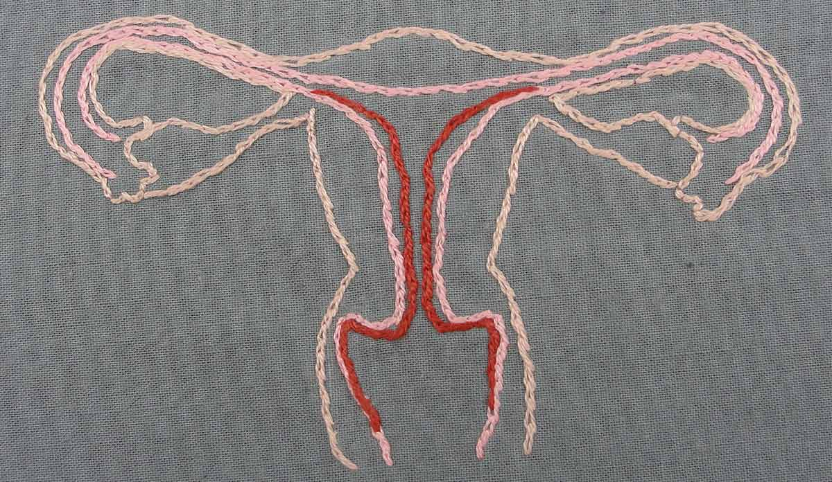 A uterus embroidered out of pink, peach, and red yarn on a grey fabric background