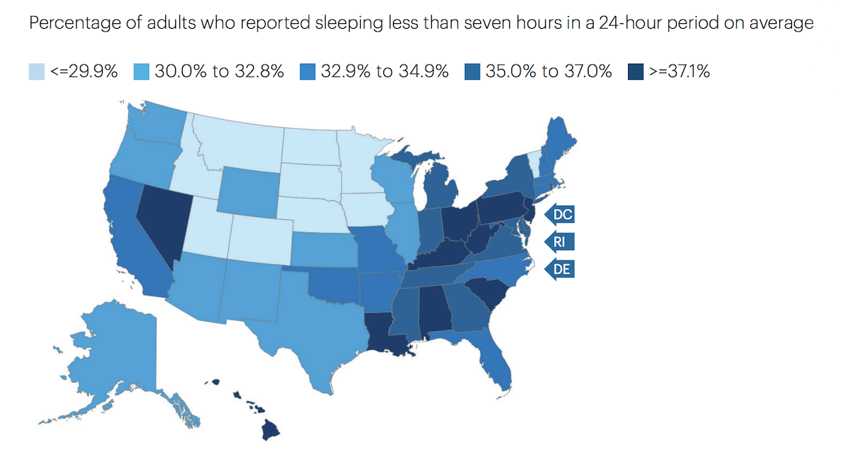 Map showing percentage of adults sleeping less than 7 hours in a 24-hour period on average