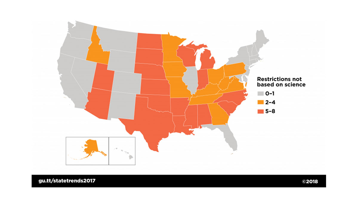 Map of US states showing number of abortion restrictions not based on science in each state