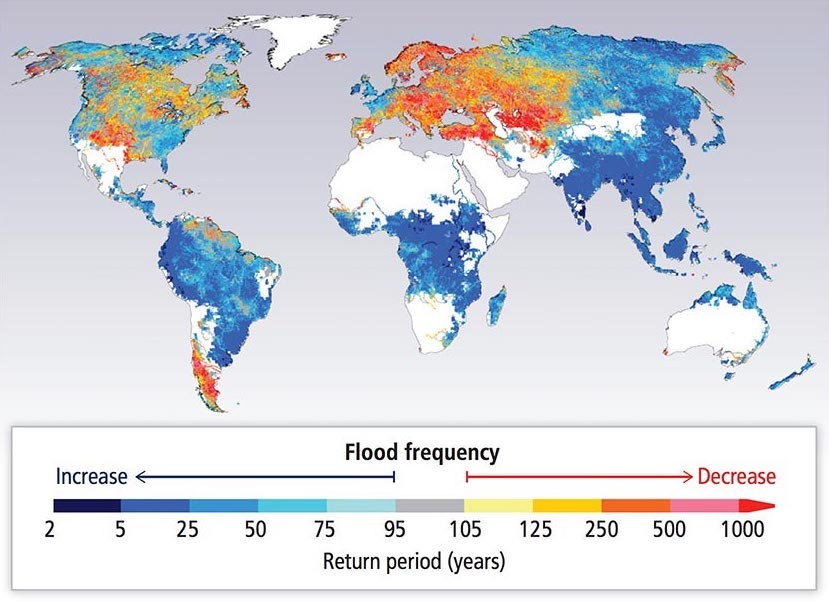 World map showing increases and decreases in 100-year flood frequencies