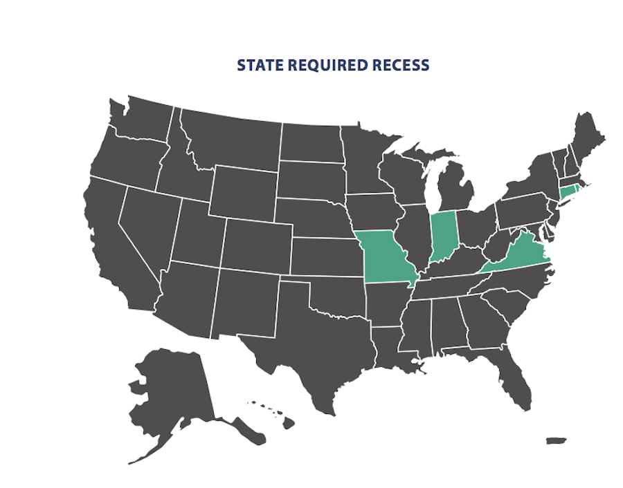 Map of the US showing states that require recess