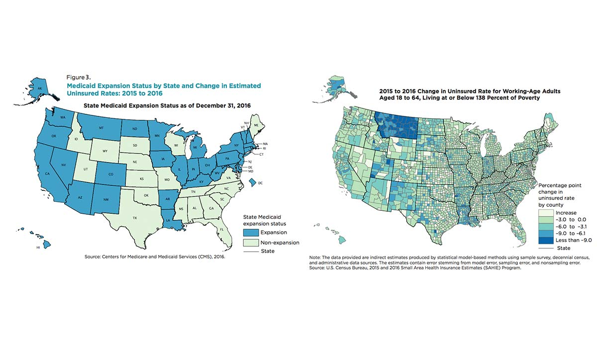 Two maps of the United States showing Medicaid status and changes in insurance rates by county and state
