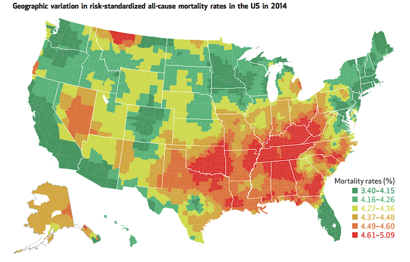 Map of the US showing all-cause mortality rates by county