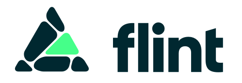 The flint logo, composed of some irregular shapes arranged into the shape of a triangle pointing up, with one stone highlighted