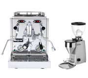 Isomac Pro Dual Boiler and Mazzer Mini Electronica Silver Grinder Combo