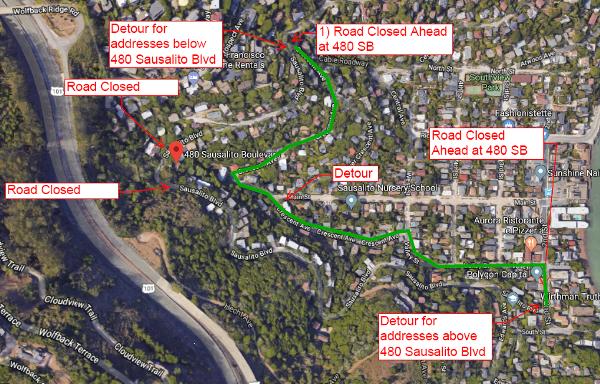 Sausalito Boulevard Closure and Detour