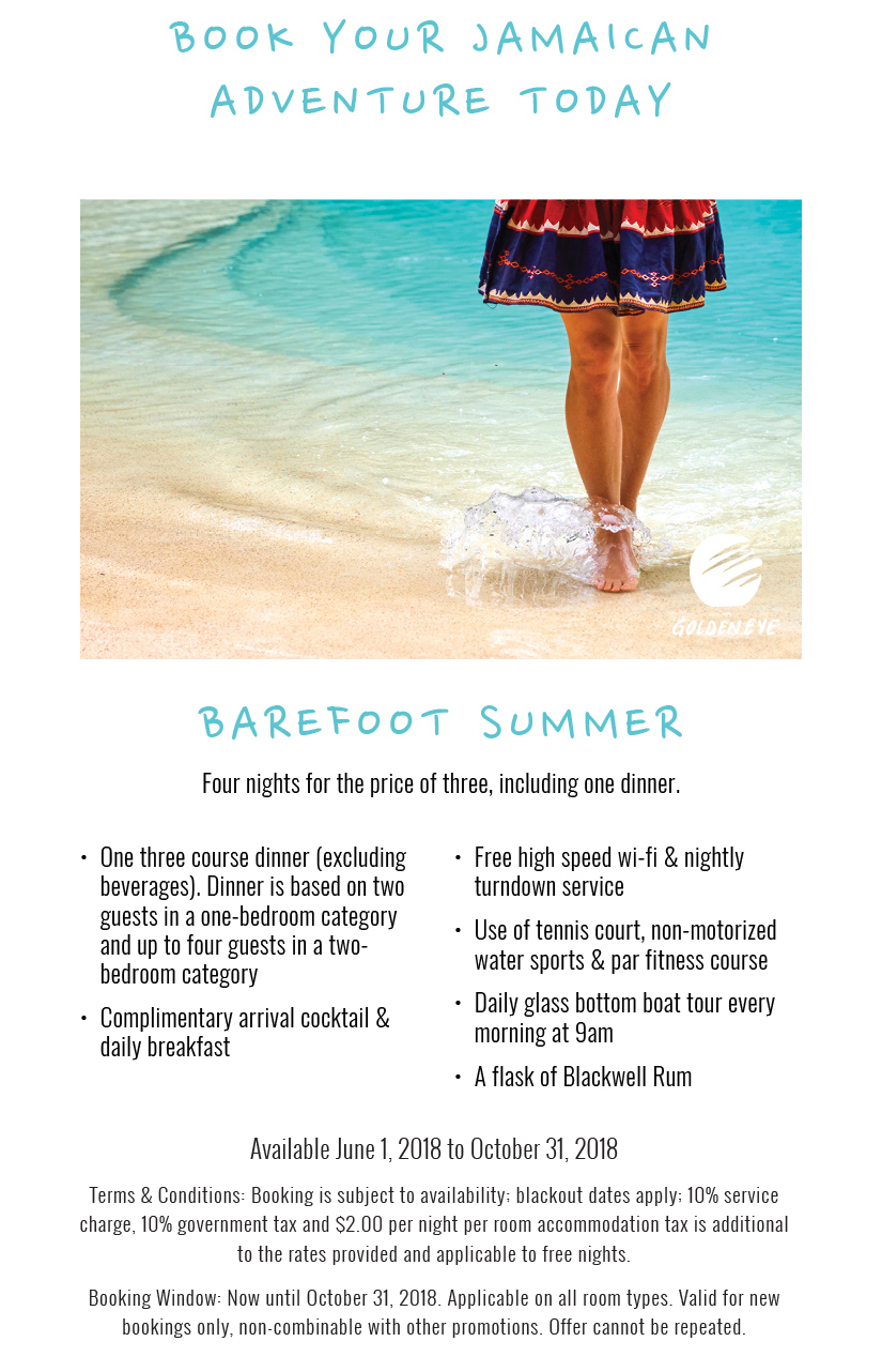 Book your Jamaican Adventure Today - Barefoot Summer - Four nights for the price of three