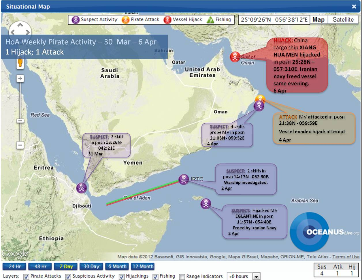 Weekly Piracy Activity Map 30 Mar - 6 Apr