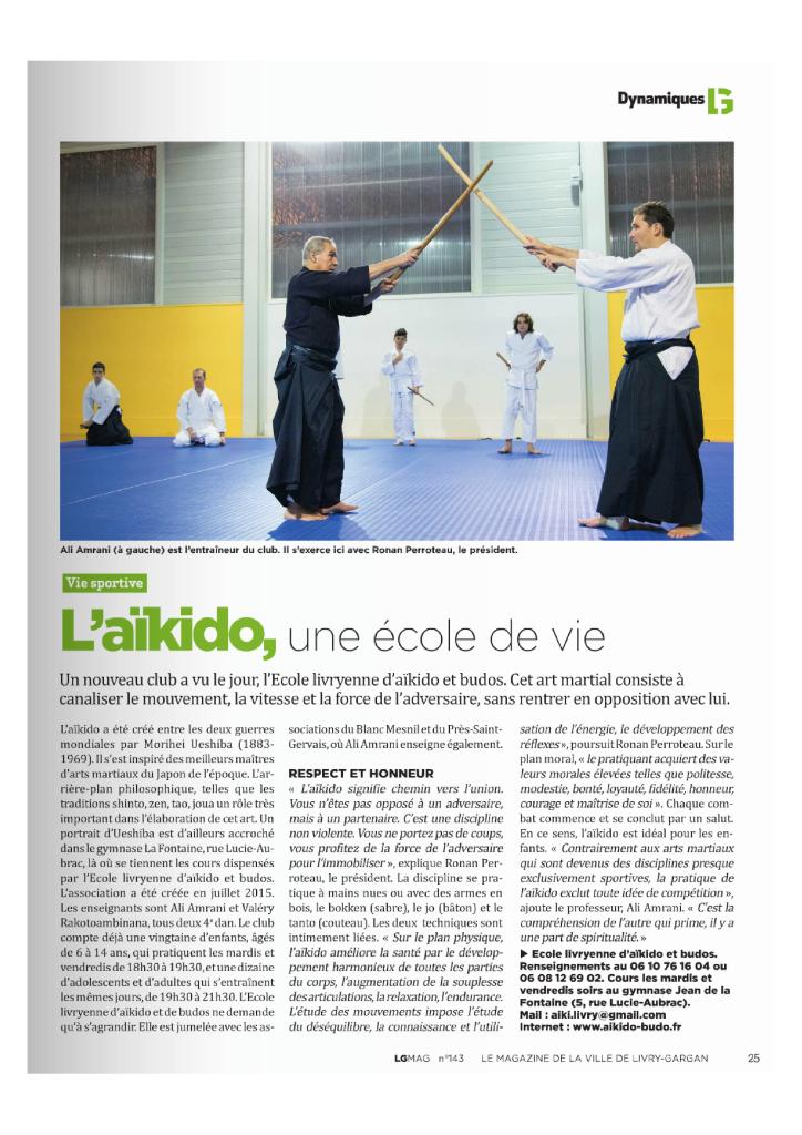 Article AIKIDO-BUDO - ELA - Livry-Gargan