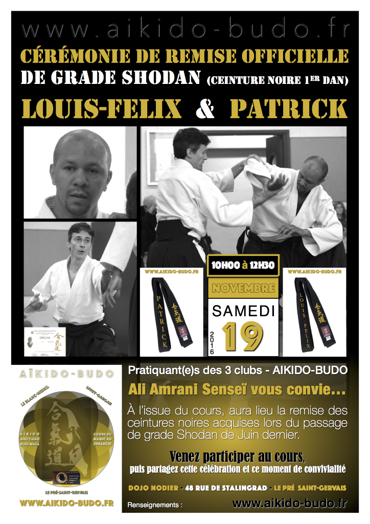 Cérémonie de Remise Officielle de grade Shodan (ceinture noire 1er Dan) pour Louis-Felix & Patrick - AIKIDO-BUDO