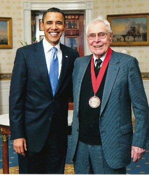 William H. McNeill with President Obama