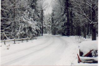Snowy road in the Berkshires