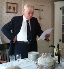 "William H. McNeil reading ""Birthday Swan Song"" at his 93rd birthday party"