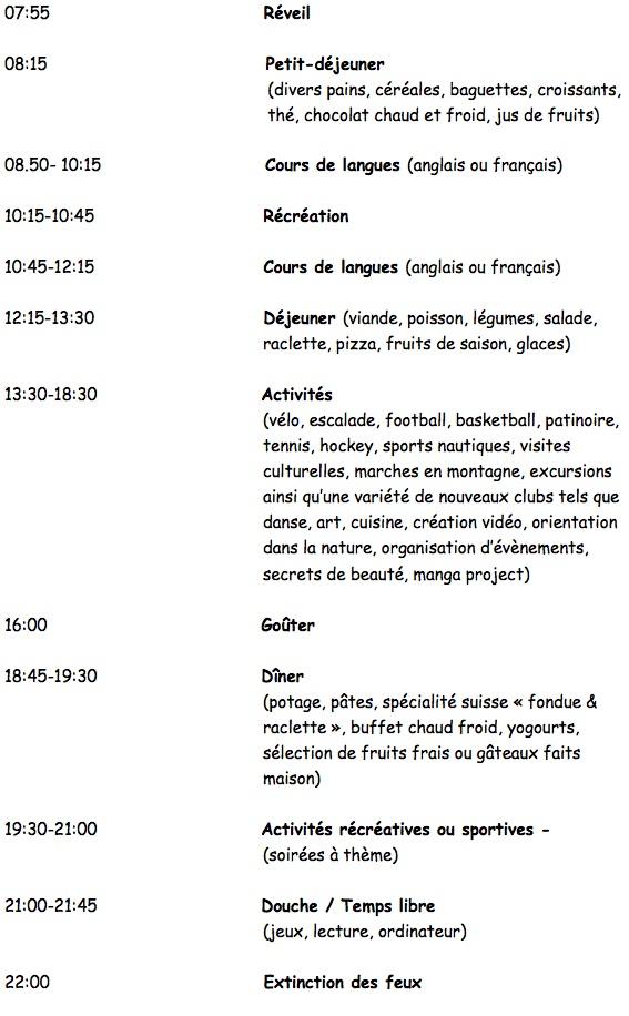 Programme Hournalier