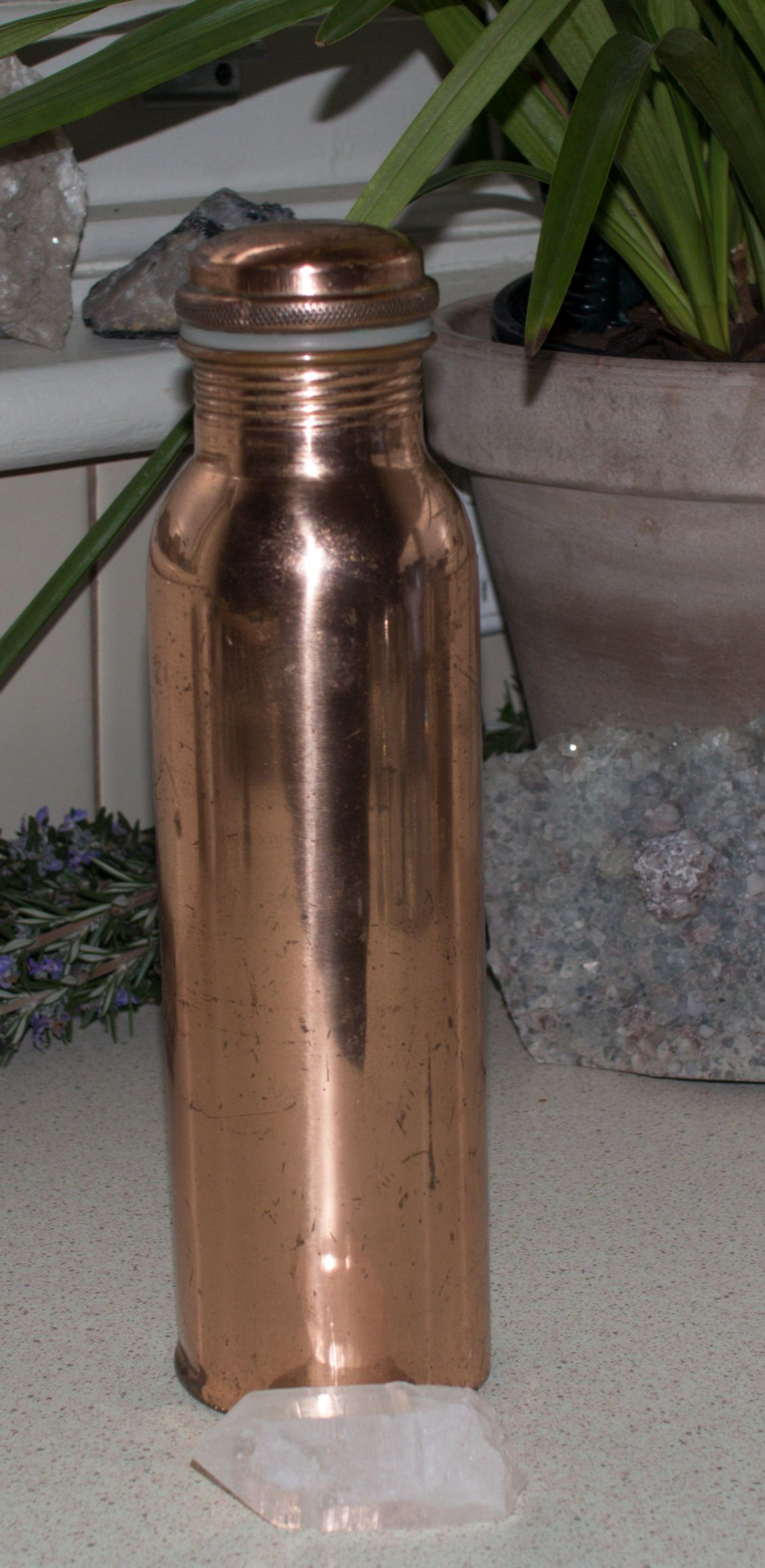 Copper Drink Bottle Crystal Point