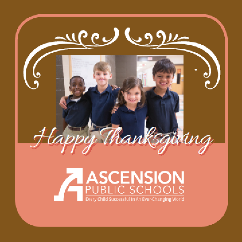 Happy Thanksgiving image with four primary students