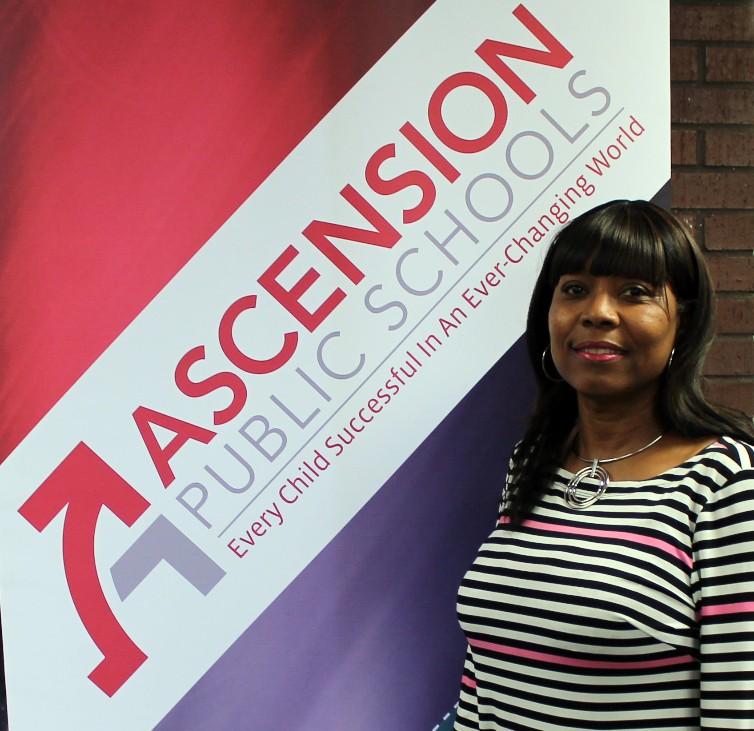 Head & shoulders of Cynthia Jackson in striped shirt