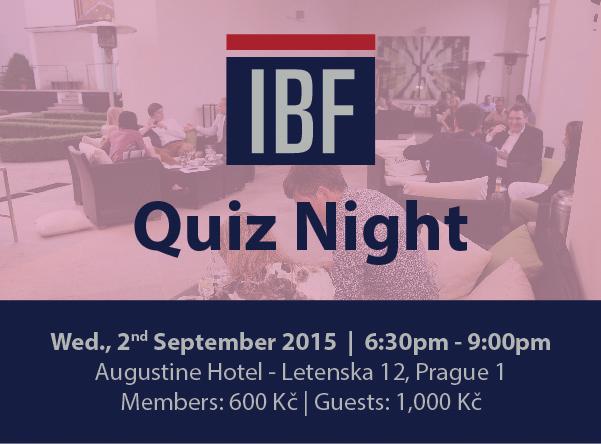 Quiz Night | Wednesday, 2nd September | 6:30-9:00pm | Augustine Hotel | Members: 600 CZK