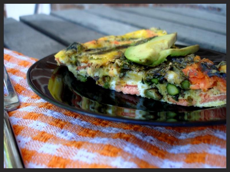 Grilled Salmon & Asparagus Frittata