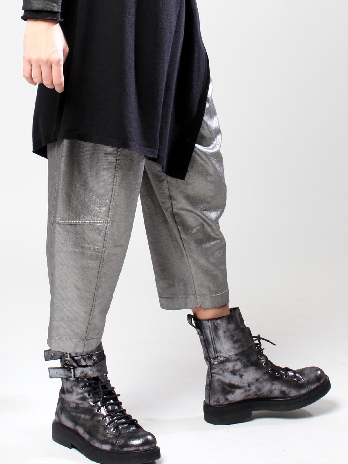 silver shiny trousers and boots at blue womens clothing