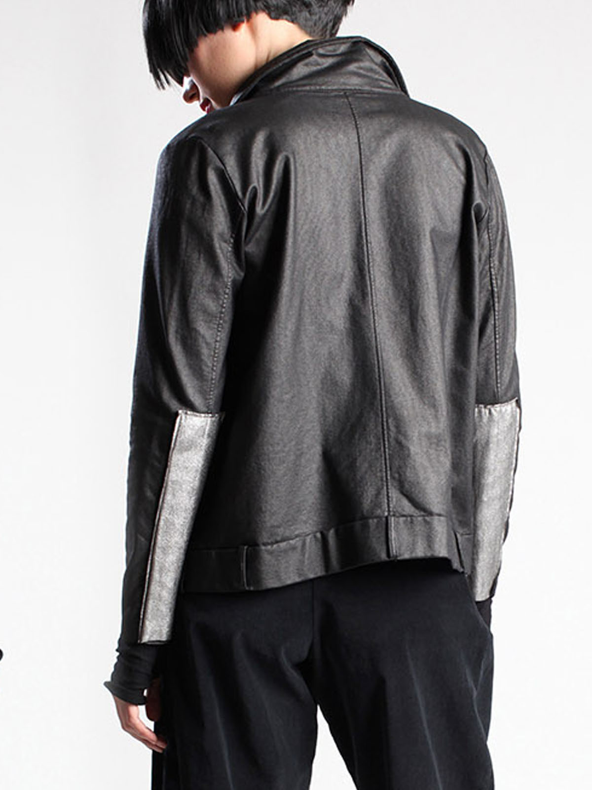 Lurdes Bergada black sheen jacket with silver panels