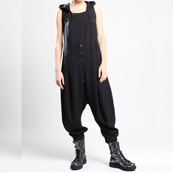 LURDES BERGADA £178 Sleeveless Hooded Jumpsuit Black or Grey