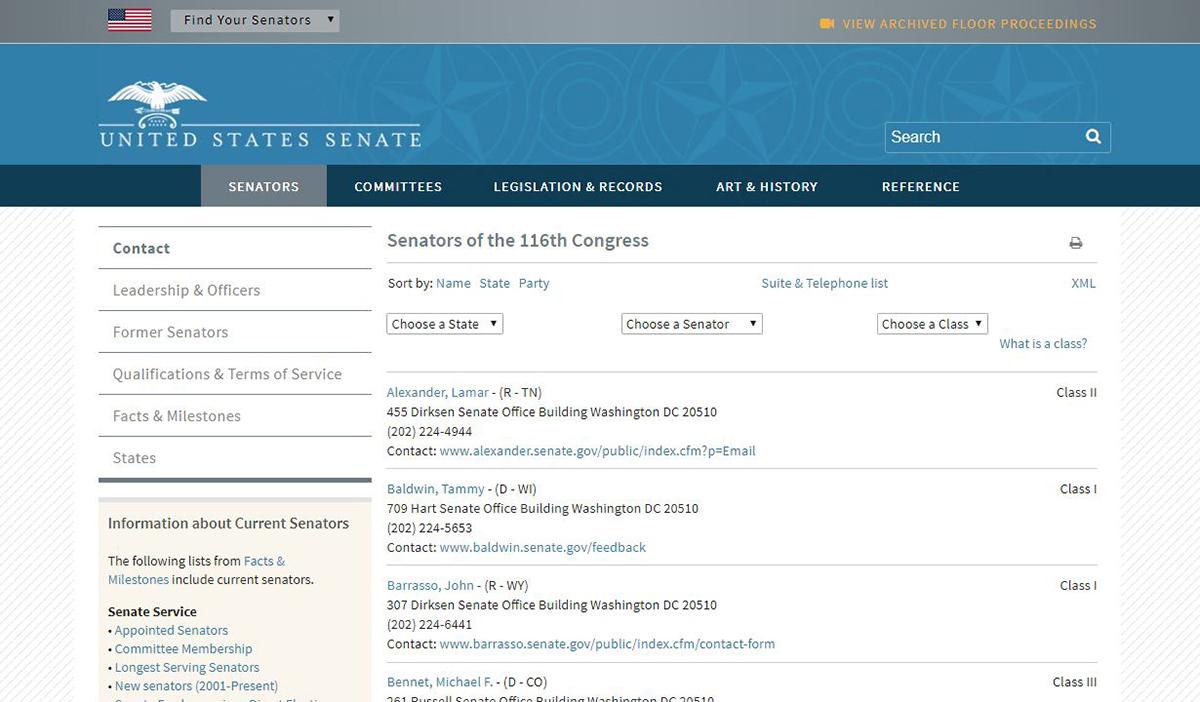 Screenshot of the U.S. Senate webpage with contact information for each senator