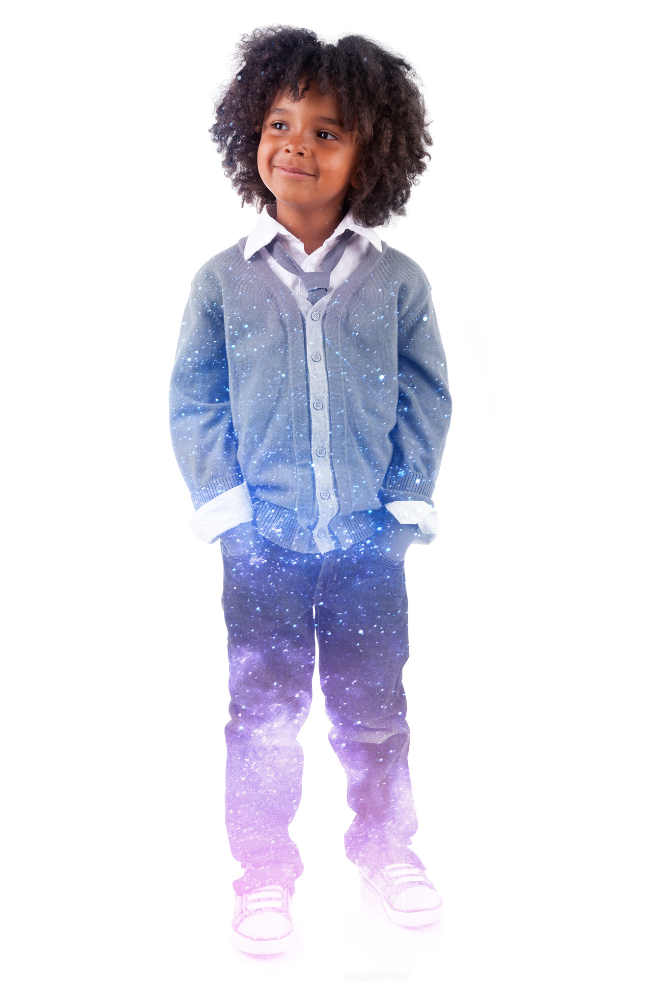 """""""Star chlid"""" image of a young boy whose pants reflect the galaxy image from the 2019 Leadership Conference."""