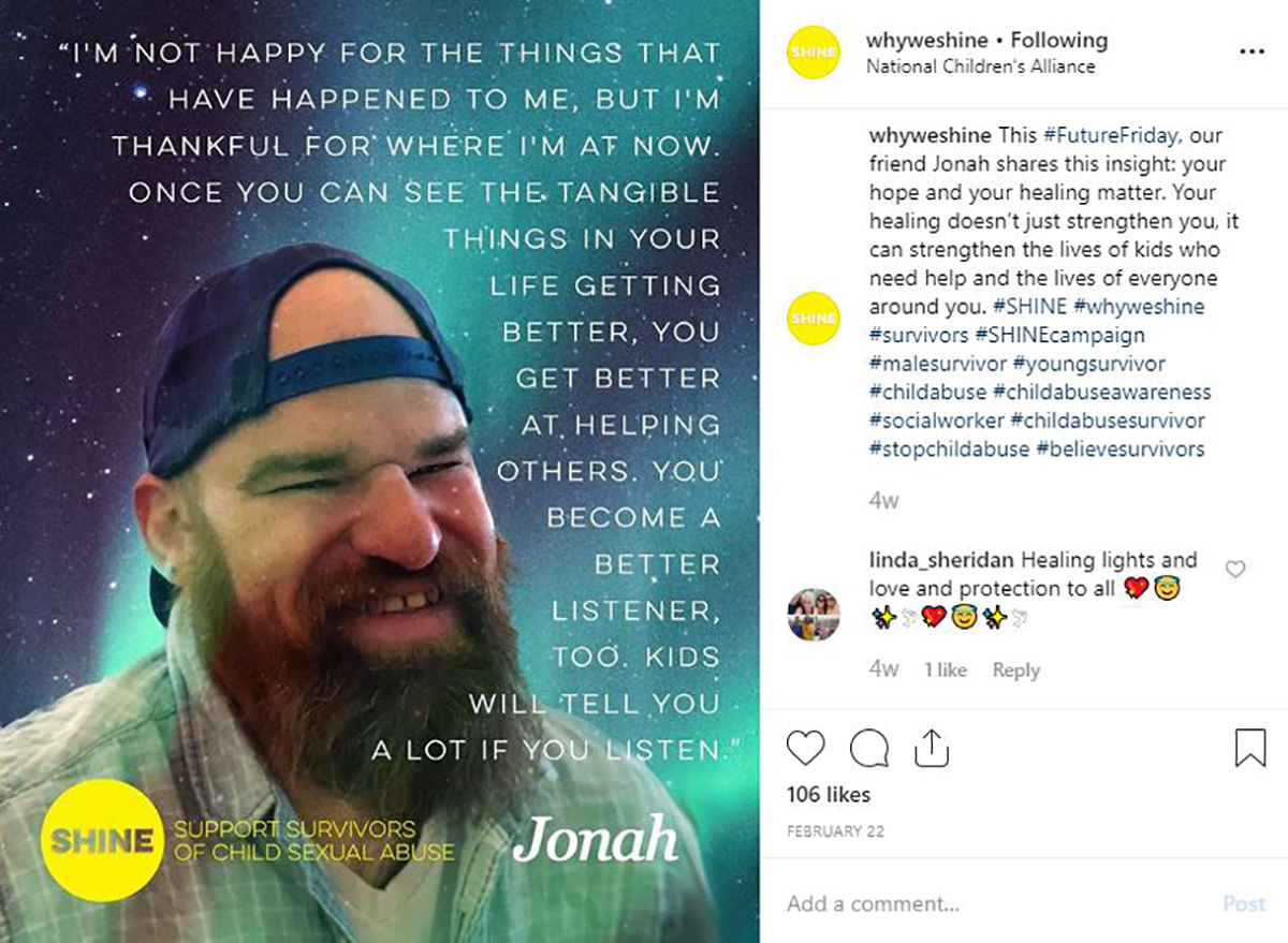 """@whyweshine Instagram post with the quote: """"I'm not happy for the things that have happened to me, but I'm thankful for where I'm at now. Once you can see the tangible things in your life getting better, you get better at helping others. You become a better listener, too. Kids will tell you a lot if you listen."""" Jonah"""