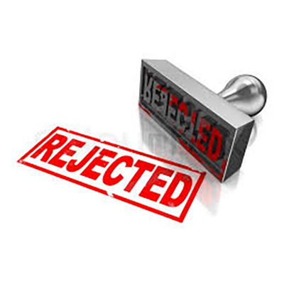 A stamp with 'Rejected' on it and the word 'REJECTED' in red are shown in this image.